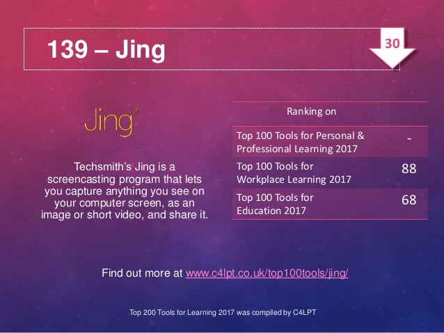 139 – Jing Find out more at www.c4lpt.co.uk/top100tools/jing/ Techsmith's Jing is a screencasting program that lets you ca...