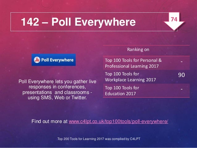 142 – Poll Everywhere Find out more at www.c4lpt.co.uk/top100tools/poll-everywhere/ Poll Everywhere lets you gather live r...