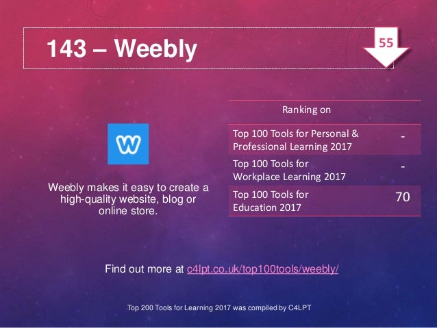 143 – Weebly Find out more at c4lpt.co.uk/top100tools/weebly/ Weebly makes it easy to create a high-quality website, blog ...