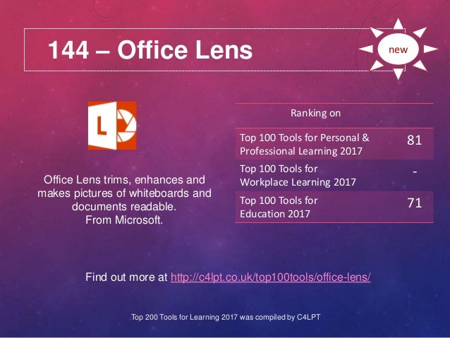 144 – Office Lens Find out more at http://c4lpt.co.uk/top100tools/office-lens/ Ranking on Top 100 Tools for Personal & Pro...