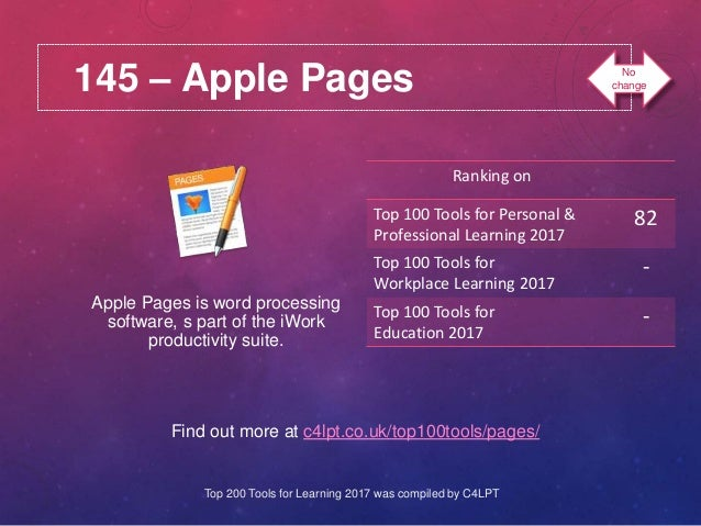 145 – Apple Pages Find out more at c4lpt.co.uk/top100tools/pages/ Apple Pages is word processing software, s part of the i...