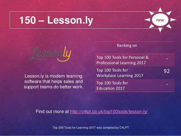 150 – Lesson.ly Find out more at http://c4lpt.co.uk/top100tools/lesson-ly/ Ranking on Top 100 Tools for Personal & Profess...