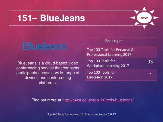 151– BlueJeans Find out more at http://c4lpt.co.uk/top100tools/bluejeans/ Ranking on Top 100 Tools for Personal & Professi...