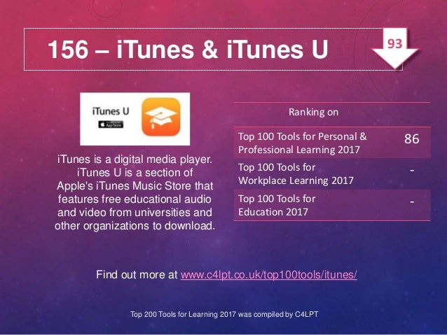 156 – iTunes & iTunes U iTunes is a digital media player. iTunes U is a section of Apple's iTunes Music Store that feature...