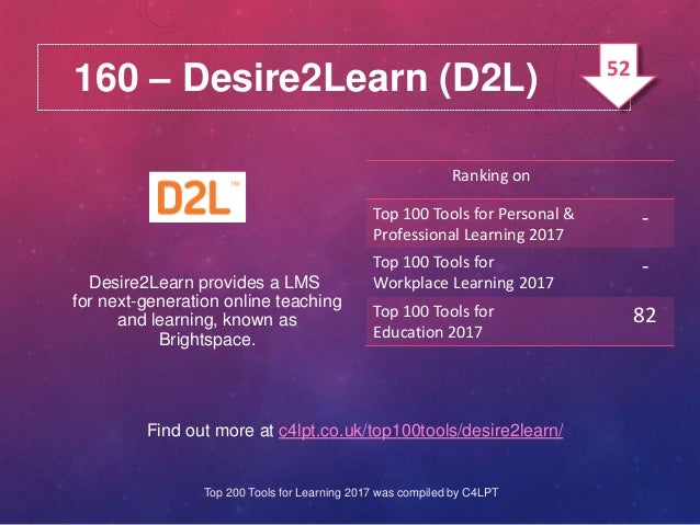 160 – Desire2Learn (D2L) Find out more at c4lpt.co.uk/top100tools/desire2learn/ Desire2Learn provides a LMS for next-gener...