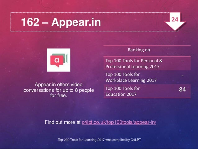 162 – Appear.in Find out more at c4lpt.co.uk/top100tools/appear-in/ Appear.in offers video conversations for up to 8 peopl...