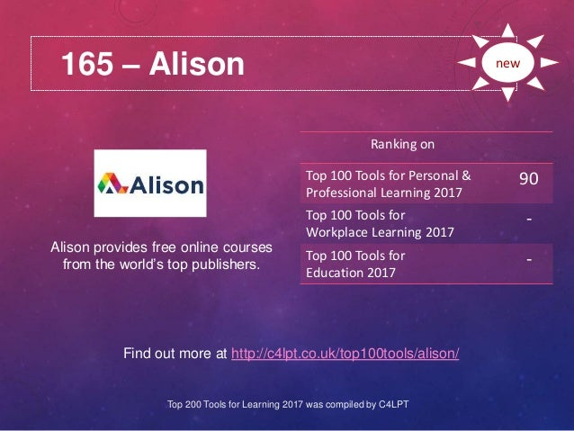 165 – Alison Find out more at http://c4lpt.co.uk/top100tools/alison/ Ranking on Top 100 Tools for Personal & Professional ...