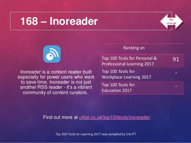 168 – Inoreader Find out more at c4lpt.co.uk/top100tools/inoreader/ Inoreader is a content reader built especially for pow...