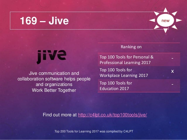 169 – Jive Find out more at http://c4lpt.co.uk/top100tools/jive/ Ranking on Top 100 Tools for Personal & Professional Lear...