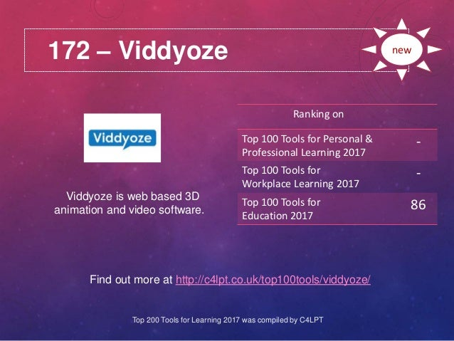 172 – Viddyoze Find out more at http://c4lpt.co.uk/top100tools/viddyoze/ Ranking on Top 100 Tools for Personal & Professio...