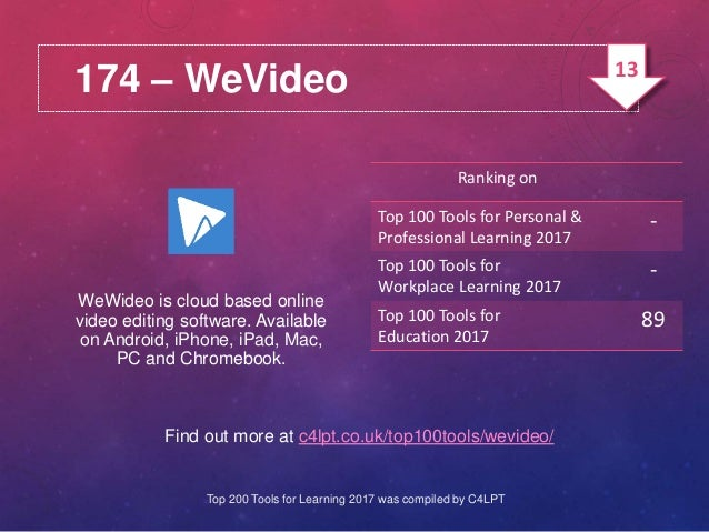174 – WeVideo Find out more at c4lpt.co.uk/top100tools/wevideo/ WeWideo is cloud based online video editing software. Avai...