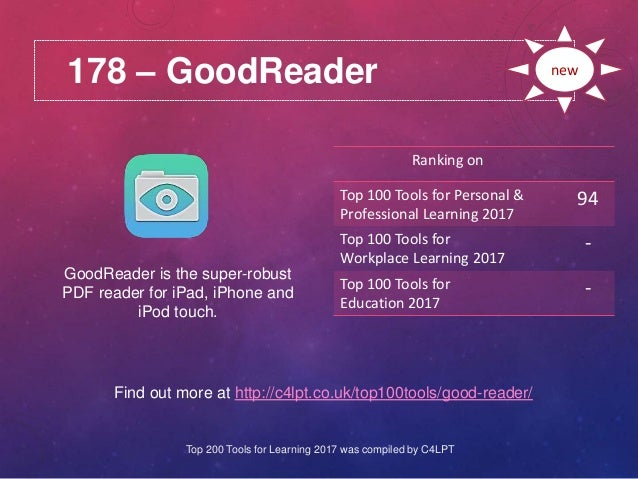 178 – GoodReader Find out more at http://c4lpt.co.uk/top100tools/good-reader/ Ranking on Top 100 Tools for Personal & Prof...