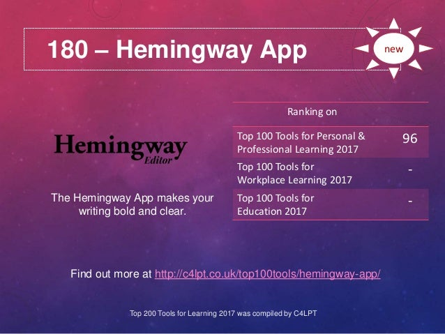 180 – Hemingway App Find out more at http://c4lpt.co.uk/top100tools/hemingway-app/ Ranking on Top 100 Tools for Personal &...
