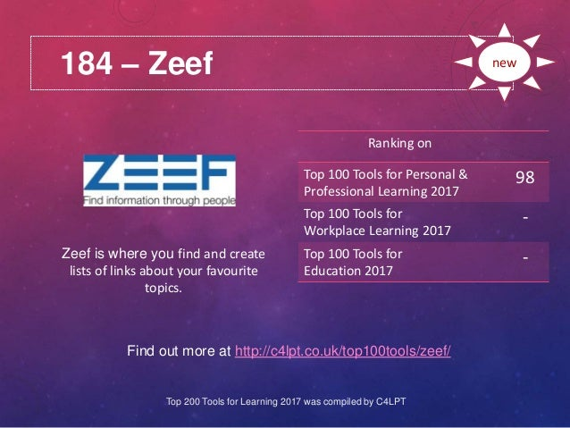 184 – Zeef Find out more at http://c4lpt.co.uk/top100tools/zeef/ Ranking on Top 100 Tools for Personal & Professional Lear...