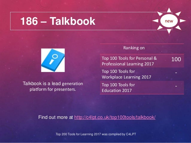 186 – Talkbook Find out more at http://c4lpt.co.uk/top100tools/talkbook/ Ranking on Top 100 Tools for Personal & Professio...