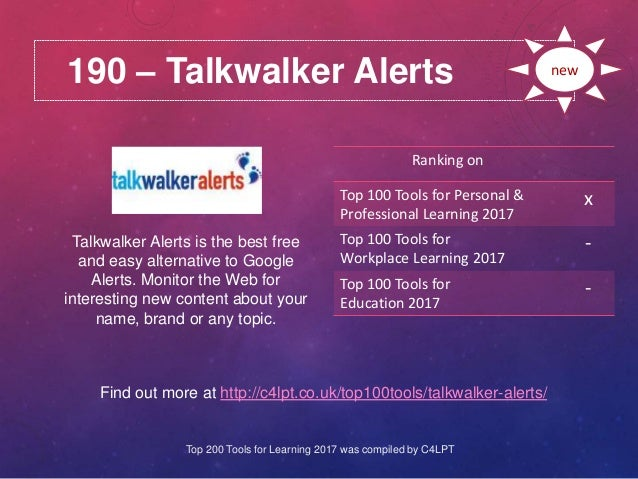 190 – Talkwalker Alerts Find out more at http://c4lpt.co.uk/top100tools/talkwalker-alerts/ Ranking on Top 100 Tools for Pe...