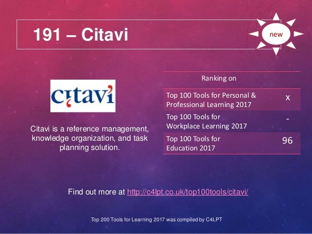 191 – Citavi Find out more at http://c4lpt.co.uk/top100tools/citavi/ Ranking on Top 100 Tools for Personal & Professional ...