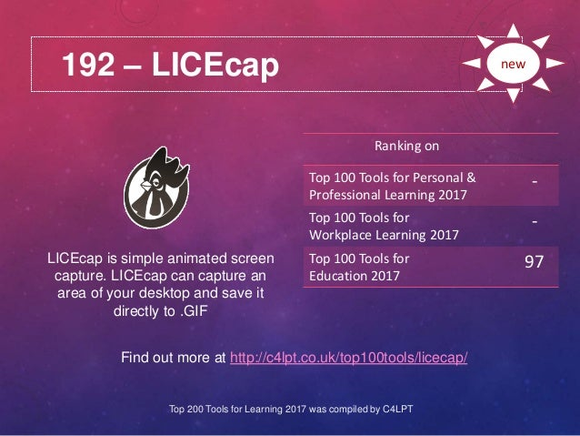 192 – LICEcap Find out more at http://c4lpt.co.uk/top100tools/licecap/ Ranking on Top 100 Tools for Personal & Professiona...