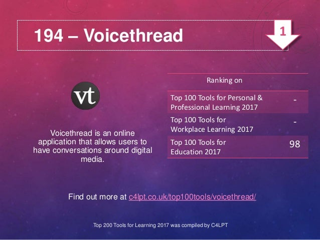 194 – Voicethread Find out more at c4lpt.co.uk/top100tools/voicethread/ Voicethread is an online application that allows u...