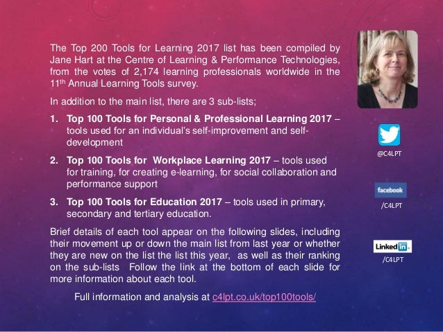 The Top 200 Tools for Learning 2017 list has been compiled by Jane Hart at the Centre of Learning & Performance Technologi...