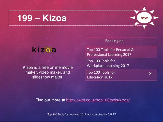 199 – Kizoa Find out more at http://c4lpt.co.uk/top100tools/kizoa/ Ranking on Top 100 Tools for Personal & Professional Le...