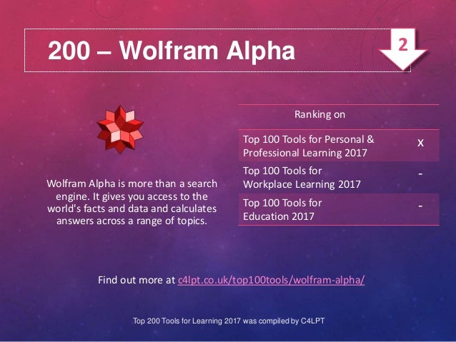 200 – Wolfram Alpha Find out more at c4lpt.co.uk/top100tools/wolfram-alpha/ Wolfram Alpha is more than a search engine. It...