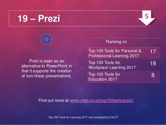19 – Prezi Prezi is seen as an alternative to PowerPoint in that it supports the creation of non-linear presentations. Fin...