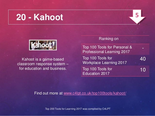 20 - Kahoot Kahoot is a game-based classroom response system – for education and business. Find out more at www.c4lpt.co.u...