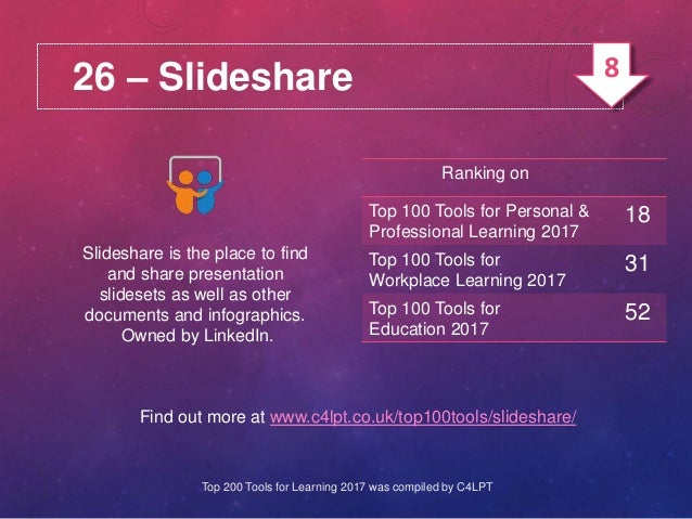 26 – Slideshare Slideshare is the place to find and share presentation slidesets as well as other documents and infographi...