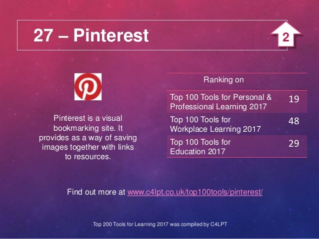 27 – Pinterest Pinterest is a visual bookmarking site. It provides as a way of saving images together with links to resour...