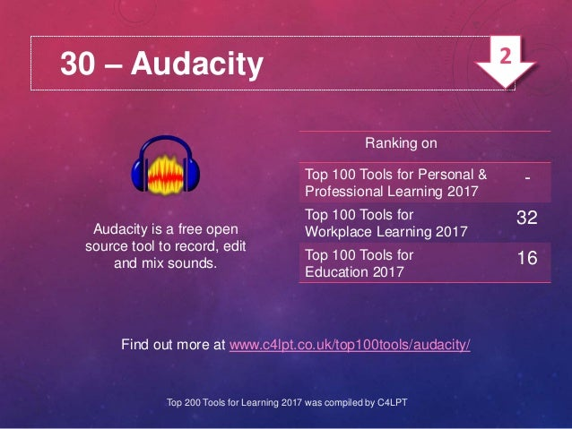 30 – Audacity Audacity is a free open source tool to record, edit and mix sounds. Find out more at www.c4lpt.co.uk/top100t...