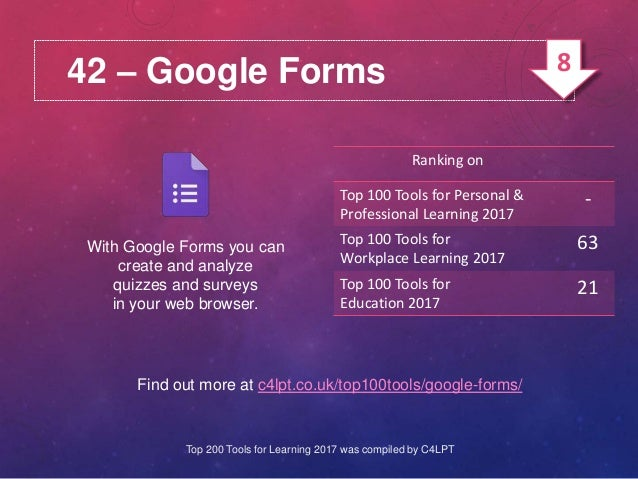 42 – Google Forms With Google Forms you can create and analyze quizzes and surveys in your web browser. Find out more at c...