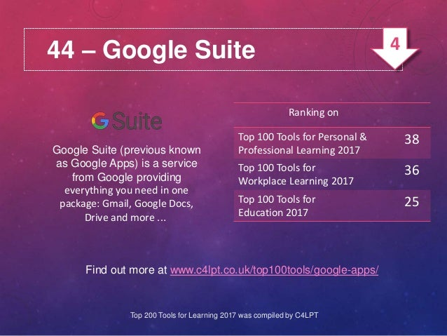 44 – Google Suite Google Suite (previous known as Google Apps) is a service from Google providing everything you need in o...