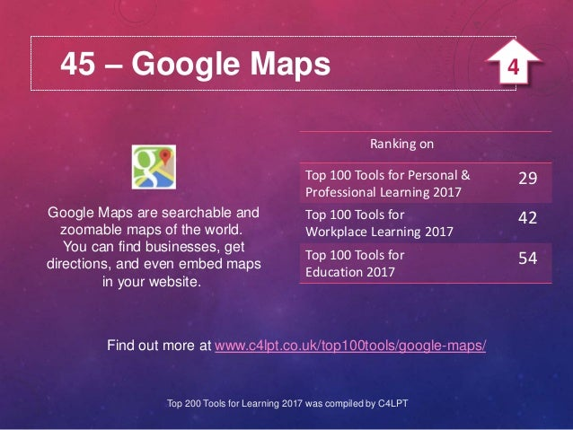 45 – Google Maps Google Maps are searchable and zoomable maps of the world. You can find businesses, get directions, and e...