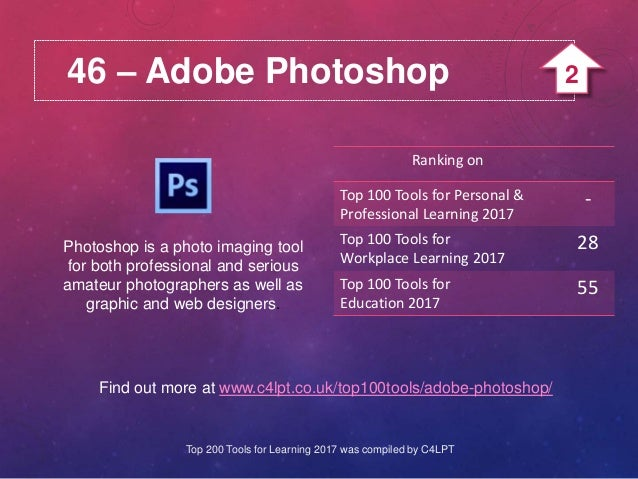 46 – Adobe Photoshop Photoshop is a photo imaging tool for both professional and serious amateur photographers as well as ...