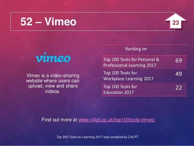 52 – Vimeo Find out more at www.c4lpt.co.uk/top100tools/vimeo/ Vimeo is a video-sharing website where users can upload, vi...