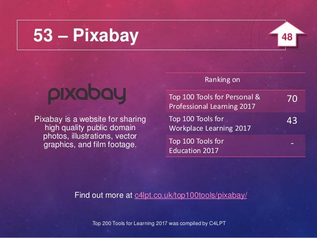 53 – Pixabay Find out more at c4lpt.co.uk/top100tools/pixabay/ Pixabay is a website for sharing high quality public domain...