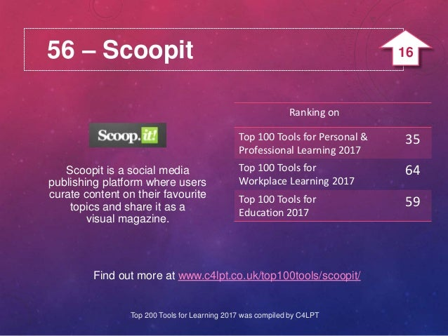 56 – Scoopit Find out more at www.c4lpt.co.uk/top100tools/scoopit/ Scoopit is a social media publishing platform where use...
