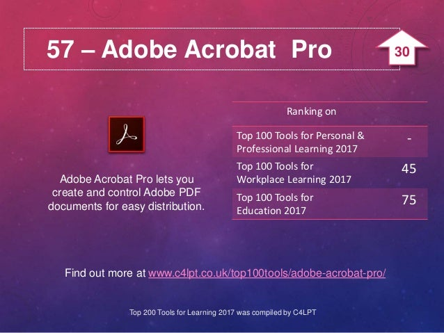 57 – Adobe Acrobat Pro Adobe Acrobat Pro lets you create and control Adobe PDF documents for easy distribution. Find out m...