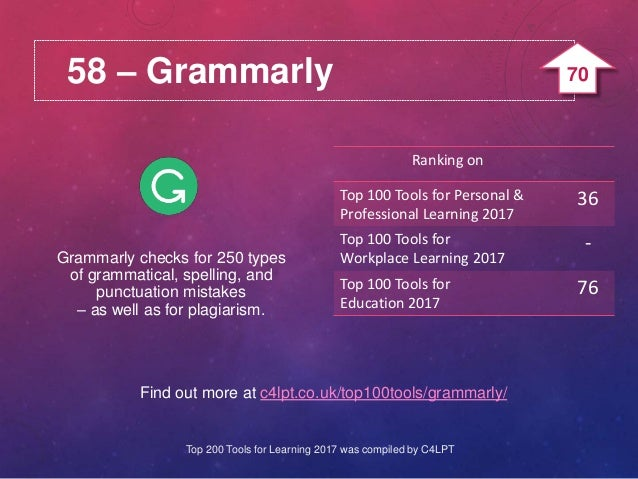 58 – Grammarly Find out more at c4lpt.co.uk/top100tools/grammarly/ Grammarly checks for 250 types of grammatical, spelling...