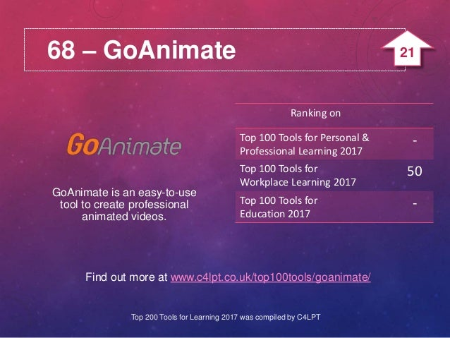 68 – GoAnimate Find out more at www.c4lpt.co.uk/top100tools/goanimate/ GoAnimate is an easy-to-use tool to create professi...