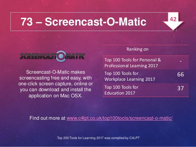 73 – Screencast-O-Matic Screencast-O-Matic makes screencasting free and easy, with one-click screen capture, online or you...