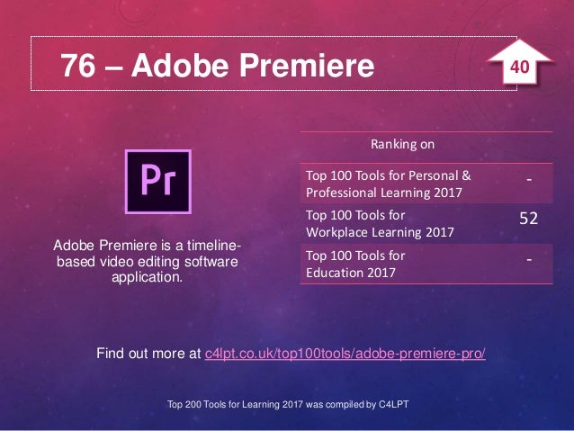 76 – Adobe Premiere Find out more at c4lpt.co.uk/top100tools/adobe-premiere-pro/ Adobe Premiere is a timeline- based video...