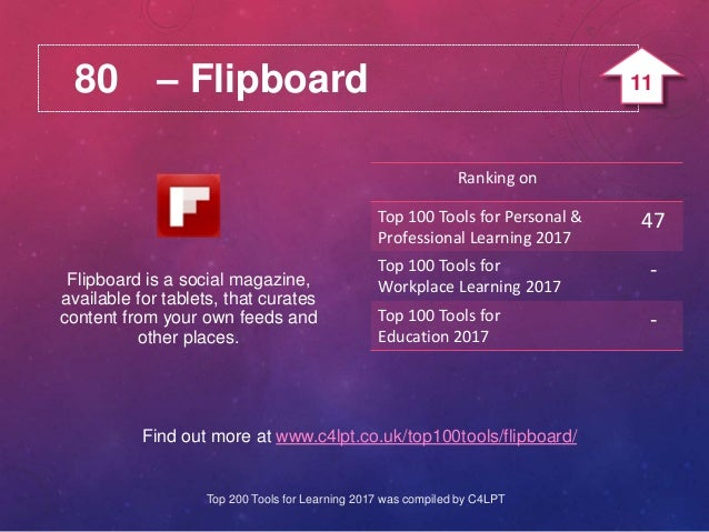80 – Flipboard Find out more at www.c4lpt.co.uk/top100tools/flipboard/ Flipboard is a social magazine, available for table...