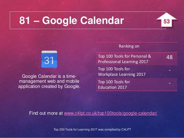 81 – Google Calendar Find out more at www.c4lpt.co.uk/top100tools/google-calendar/ Google Calendar is a time- management w...