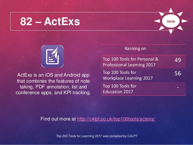 82 – ActExs Find out more at http://c4lpt.co.uk/top100tools/actexs/ Ranking on Top 100 Tools for Personal & Professional L...