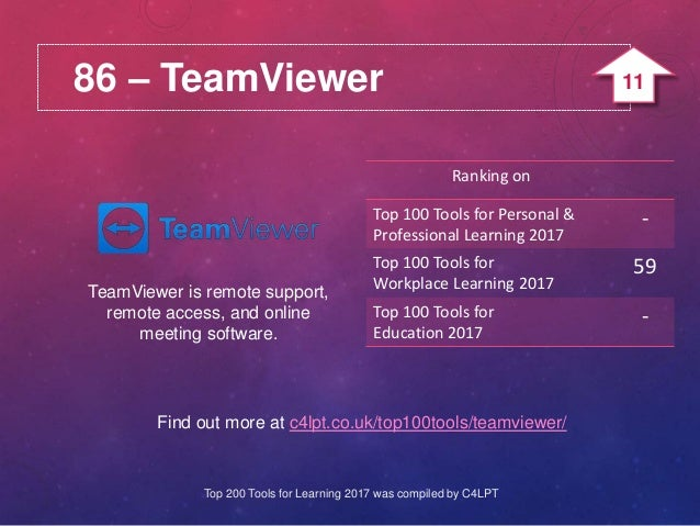 86 – TeamViewer TeamViewer is remote support, remote access, and online meeting software. Find out more at c4lpt.co.uk/top...