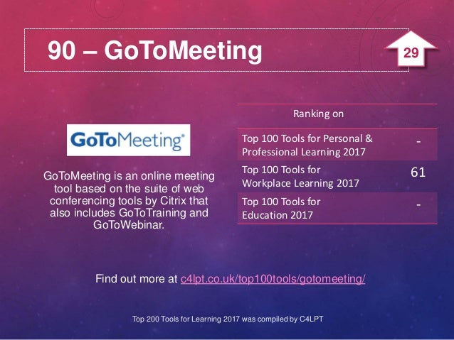 90 – GoToMeeting Find out more at c4lpt.co.uk/top100tools/gotomeeting/ GoToMeeting is an online meeting tool based on the ...