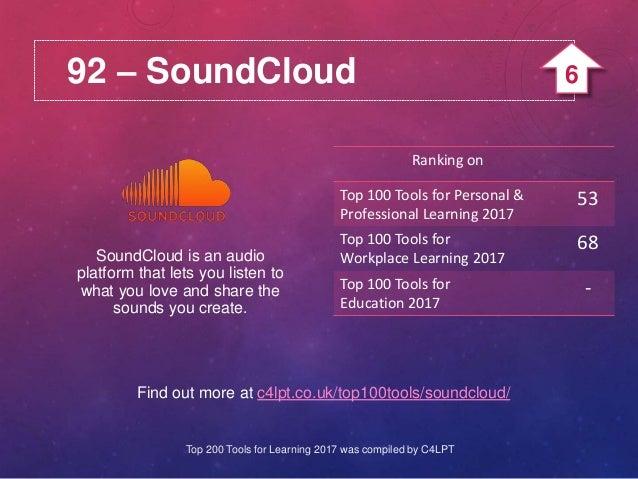 92 – SoundCloud Find out more at c4lpt.co.uk/top100tools/soundcloud/ SoundCloud is an audio platform that lets you listen ...