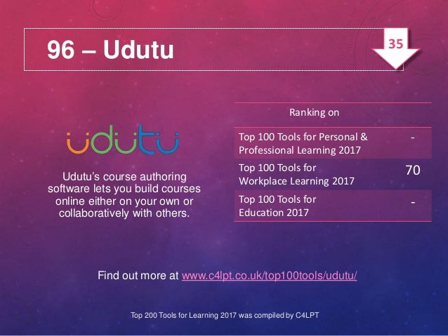 96 – Udutu Find out more at www.c4lpt.co.uk/top100tools/udutu/ Udutu's course authoring software lets you build courses on...